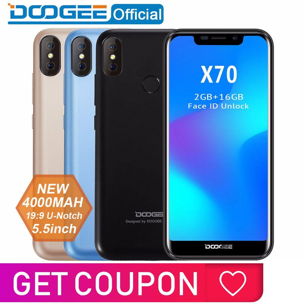 2018 nouveau DOOGEE X70 Smartphone Face 5.5 ''u-cran 19:9 MTK6580 Quad Core 2 GB RAM 16 GB ROM double caméra 8.0MP Android 8.1 4000 mAh