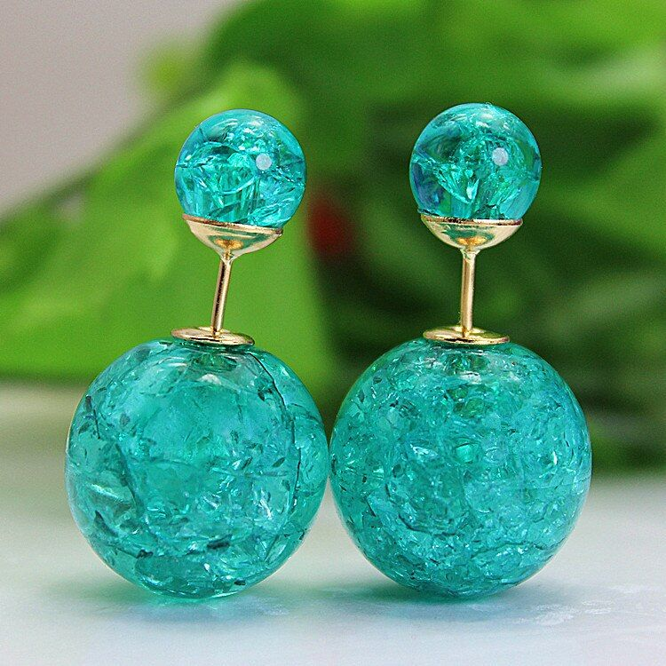 2017 new fashion brand jewery elegant double imitation pearl stud earrings for women cute opal beads earrings