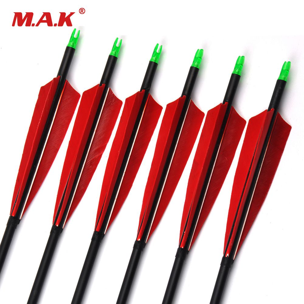 6/12/24pcs 85cm Spine 500 Carbon Arrows with Red Feather and Replaceable Tips for Recurve Compound Bow Hunting Shooting Archery