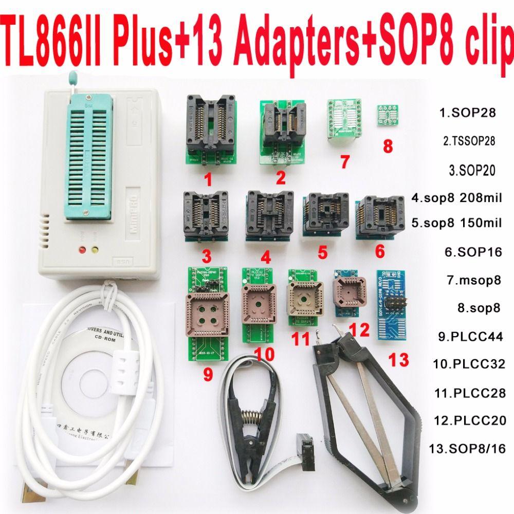 V7.08 xgecu TL866II плюс программист + 13 адаптеры разъем TL866ii 1.8 В NAND Flash 24 93 25 MCU Биографические очерки EPROM лучше чем TL866A/cs