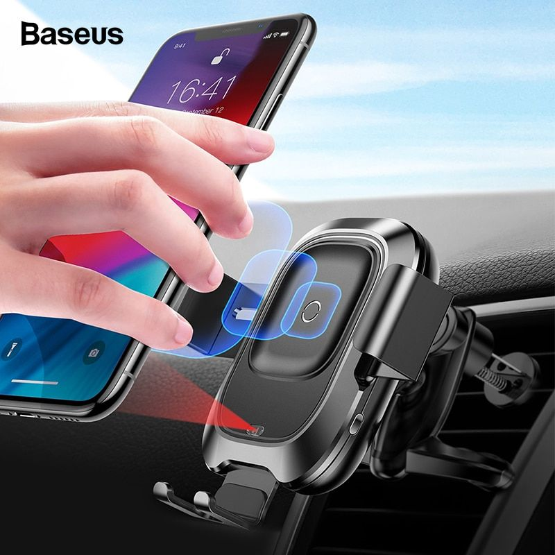 Chargeur sans fil intelligent Qi BASEUS pour voiture compatible iPhone Xs Max XR X Samsung Capteur infrarouge intelligent ultra rapide sans fil Chargeur de voiture Support de téléphone
