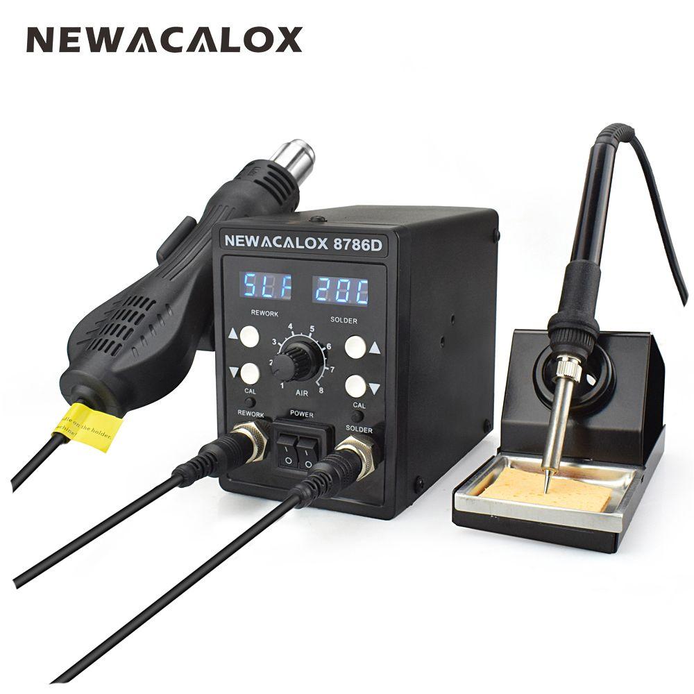 NEWACALOX 8786D 750W Blue Digital 2 In 1 SMD Rework Soldering Station Repair Welding Soldering Iron Set PCB Desoldering Tool