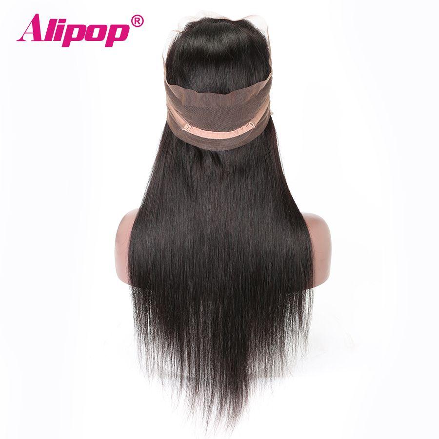 360 dentelle frontale fermeture brésilienne cheveux raides pré plumé 10-24 pouces Remy cheveux humains partie moyenne libre 360 dentelle fermeture ALIPOP