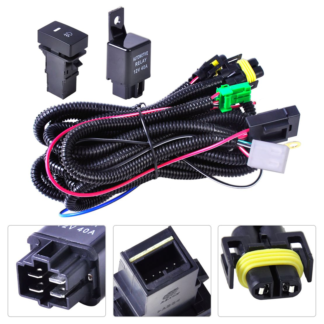 Dwcx Жгуты проводки розетки Провода + переключатель для H11 Туман лампа для Ford Focus 2008-2014 Acura TSX 11 -14 Nissan Cube 2009-2015