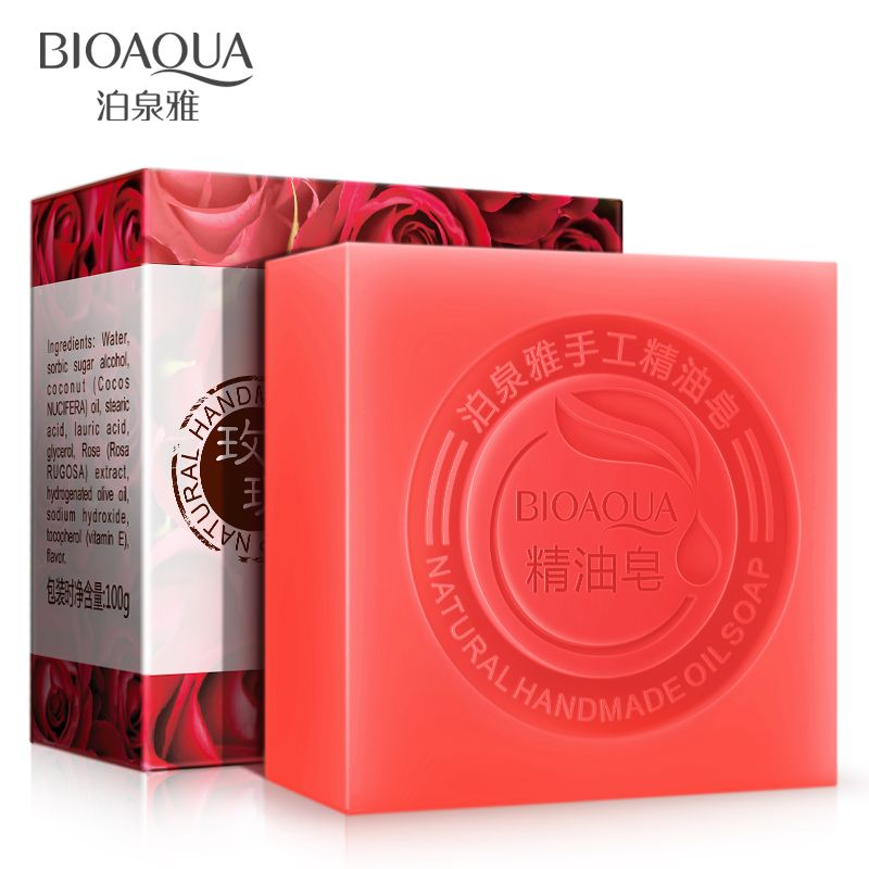 2Pcs/Lot BIOAQUA Rose Oil Handmade Soap Skin Whitening Soap Blackhead Remover Acne Treatment Face Wash Hair Care Bath Skin Care