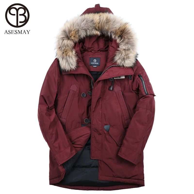 Asesmay brand 90% white duck men down jacket men's winter coat thick warm goose feather hoodies fur collar casual winter jackets
