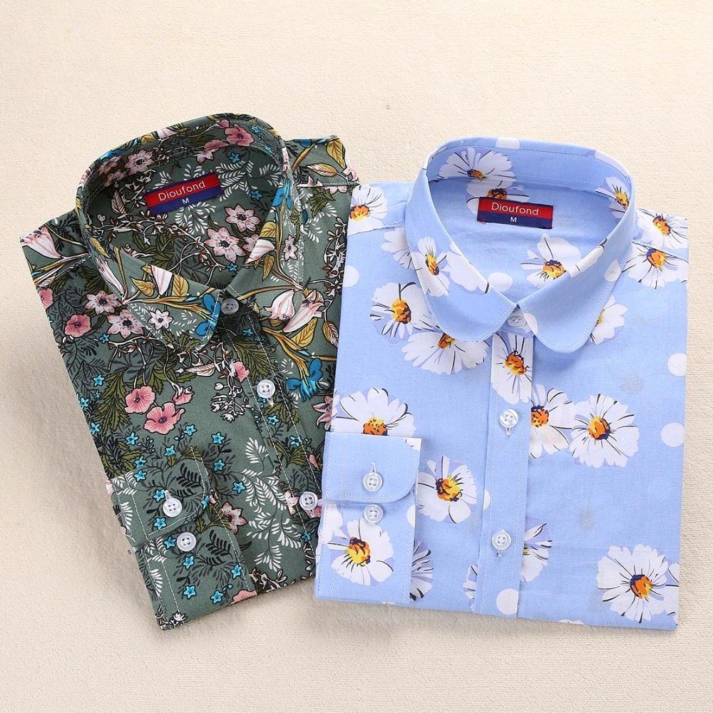 Dioufond Vintage Chemisiers Femmes Imprimer Des Chemises À Manches Longues En Coton Tops Dames Floral Blusas Grande Taille 5XL Mode Femme Vêtements