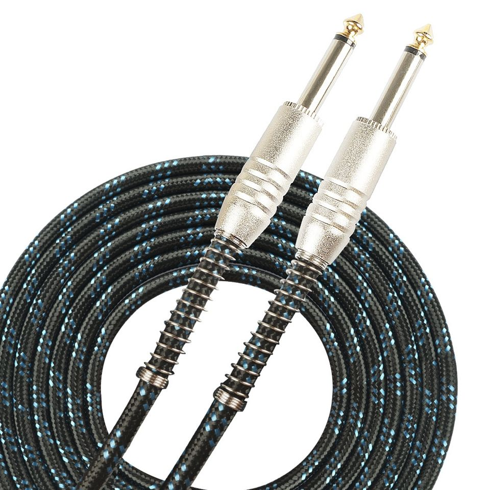 SUNYIN Electric Guitar Cable Black 3m & 6m Audio Cable Two Straight Plug With Resist Bending Protection Guitar Parts Accessories