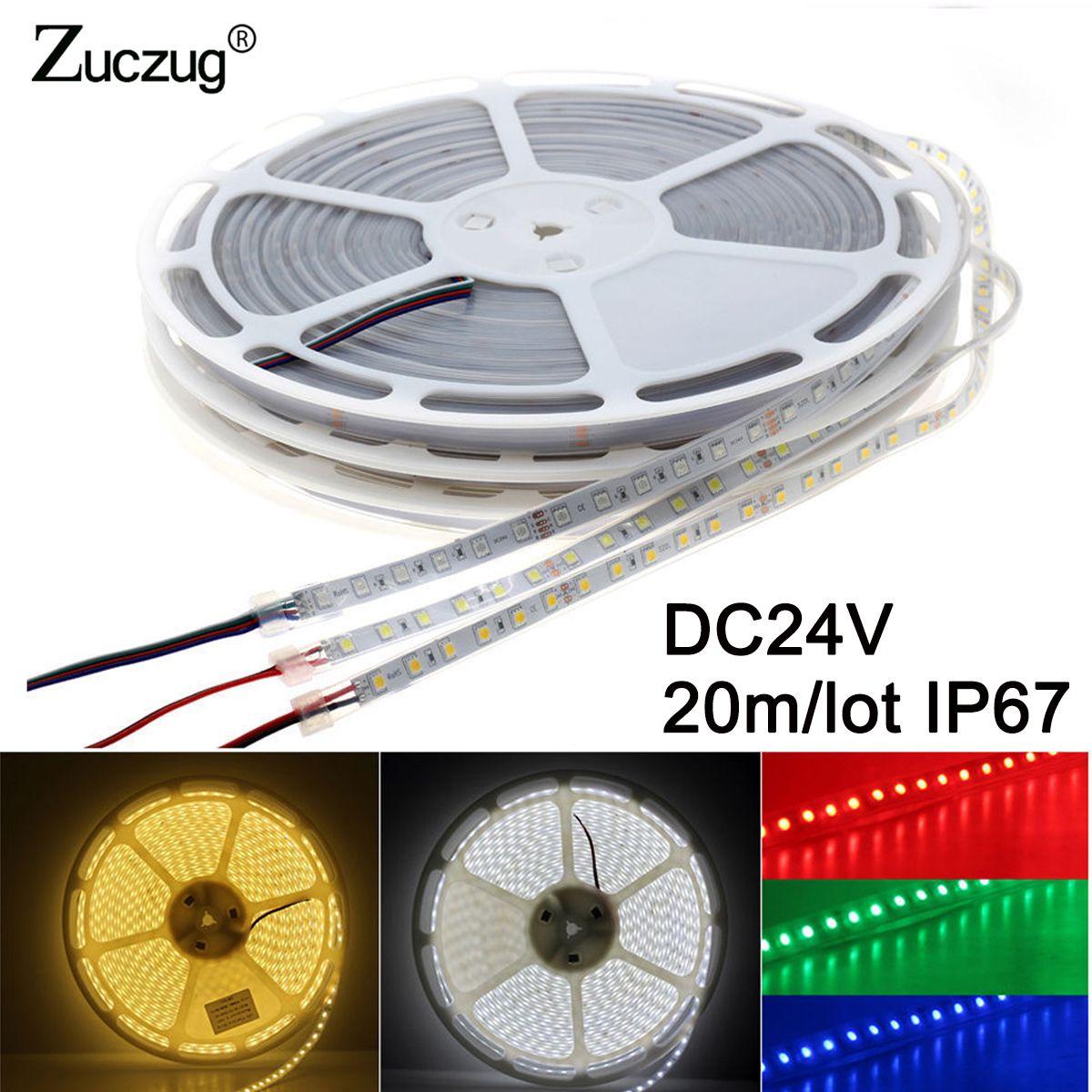 24V 20m led strip light 5050 DC 24 v volt silicon tube waterproof IP67 1200led cool white warm white rgb flexible tape ledstrip
