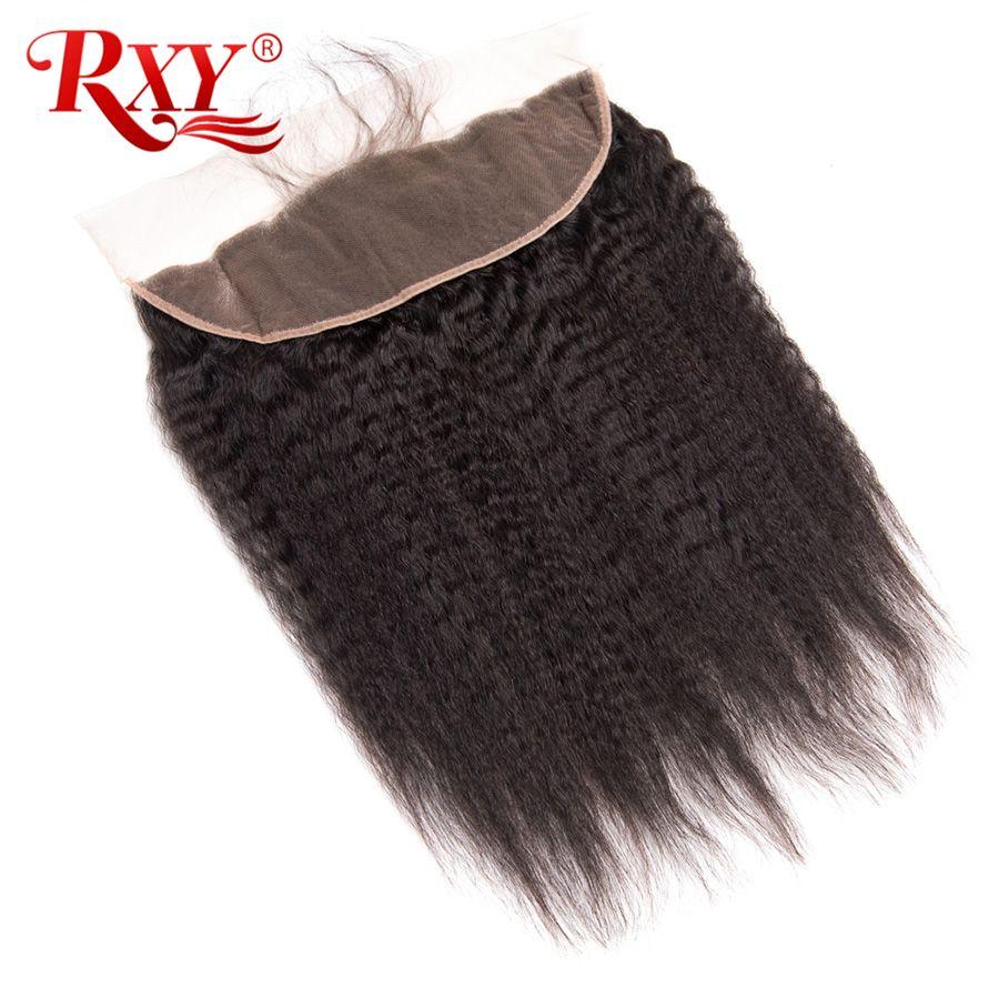 RXY brésilien crépus cheveux raides 13x4 oreille à oreille dentelle frontale couleur naturelle 100% Remy fermeture de cheveux humains avec des cheveux de bébé