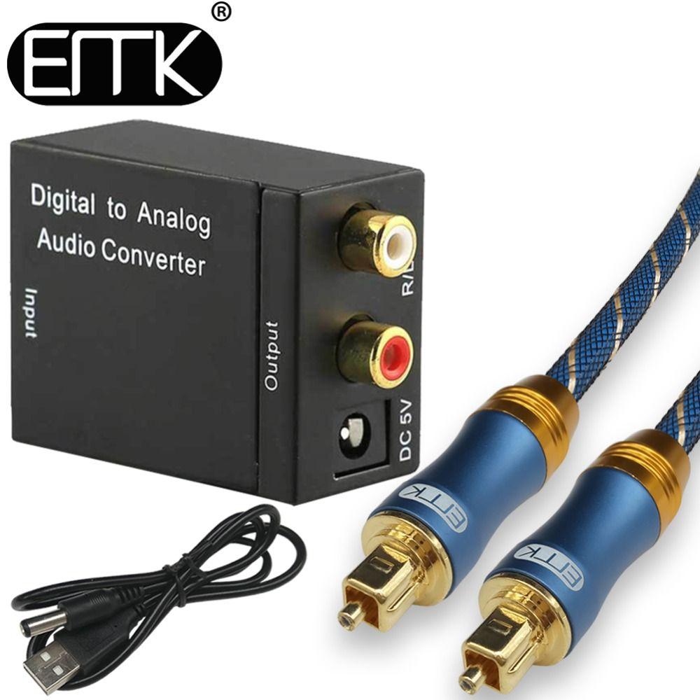 Numérique à Analogique Audio Converter Adaptateur Numérique Fiber Optique Coaxial RCA toslink Signal Analogique Audio Converter RCA pour DVD