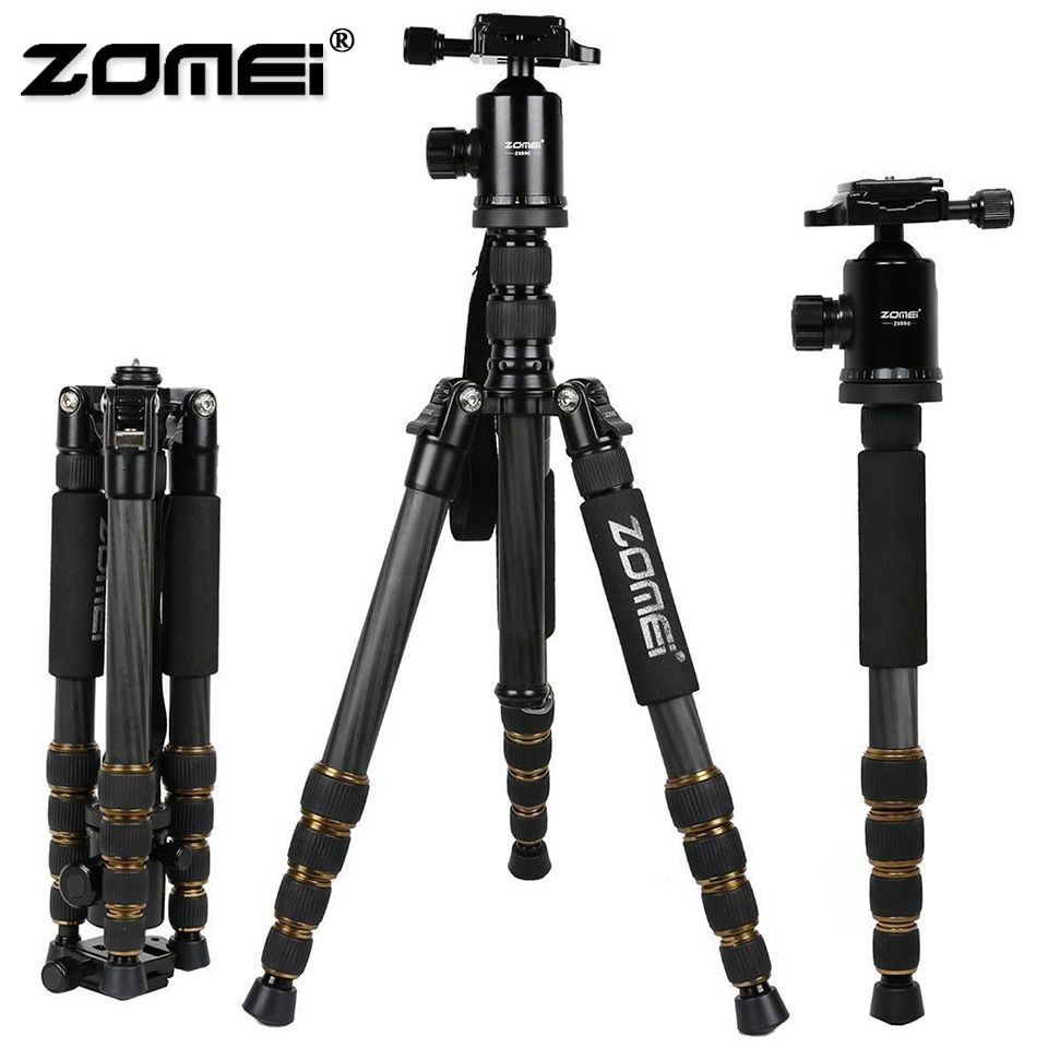 ZOMEI Z669C Professional Heavy Duty Travel Carbon Fiber Tripod with Monopod Ball Head Phone Holder For DSLR Camera Photo Video