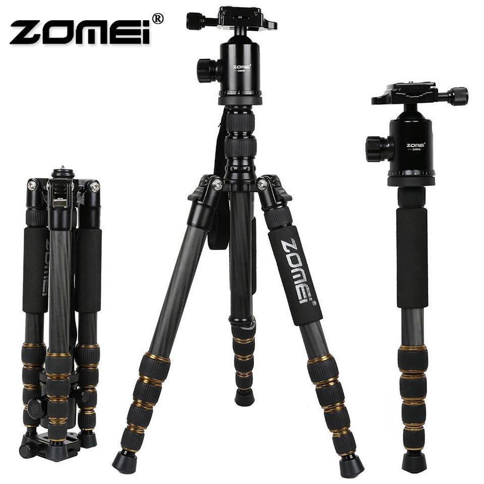 ZOMEI Z669C Professional Heavy Duty Travel Carbon Fiber Tripod with Monopod Ball Head Phone Holder For DSLR Camera Photo Video