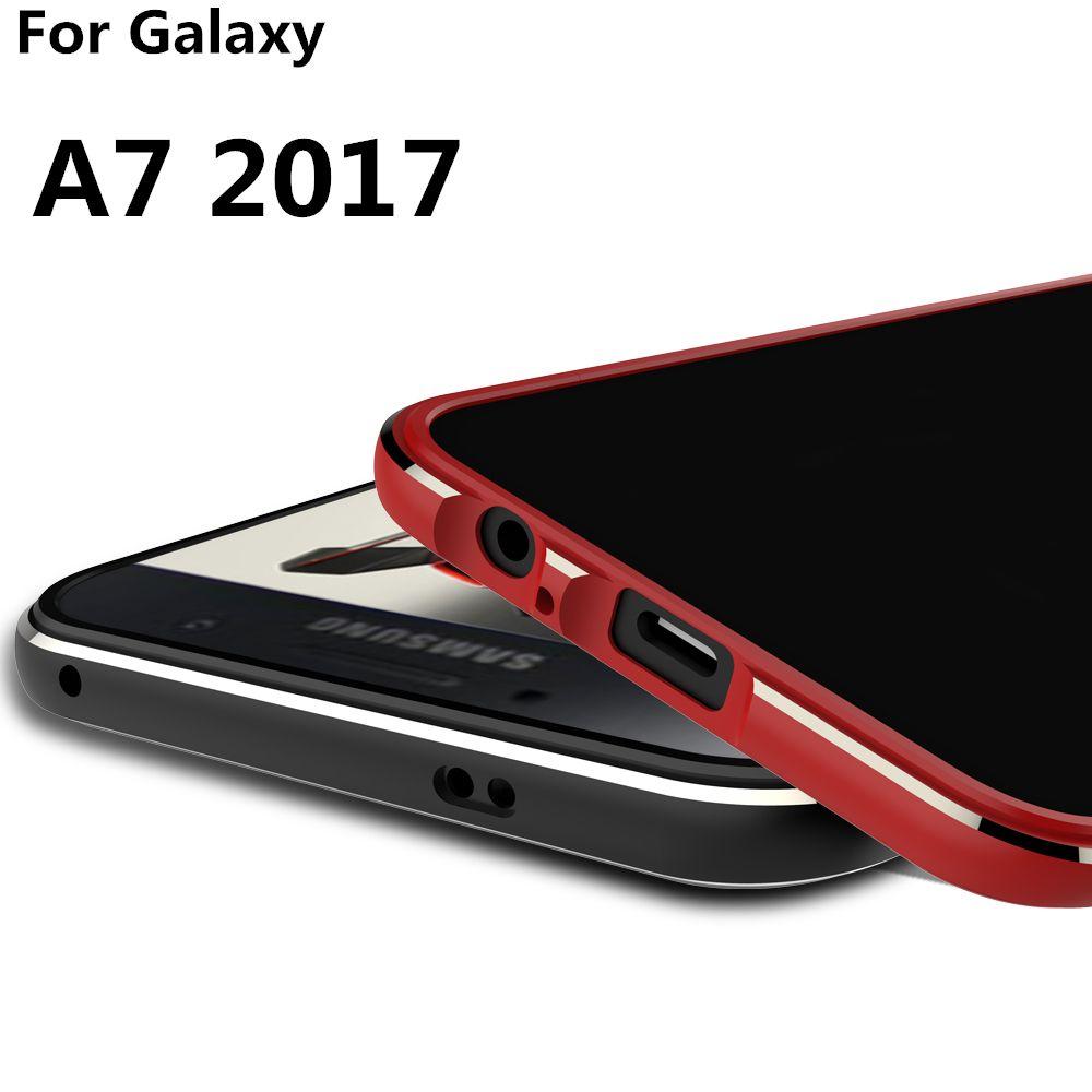 Deluxe Ultra Mince Cas téléphone couverture de Butoir en aluminium Pour Samsung Galaxy A7 2017 A720 A720F + 2 Film (1 Avant + 1 Arrière)