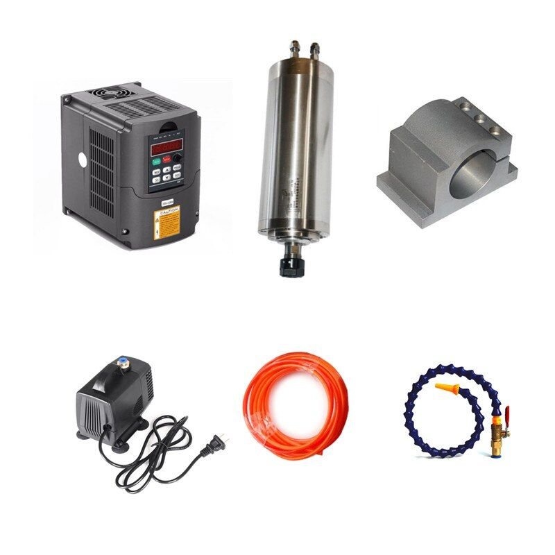 1.5kw spindel 80mm 2.2kw VFD spindel für diy cnc-fräsmaschine Wasserpumpe 5 Mt Wasser Rohre 80mm clamp