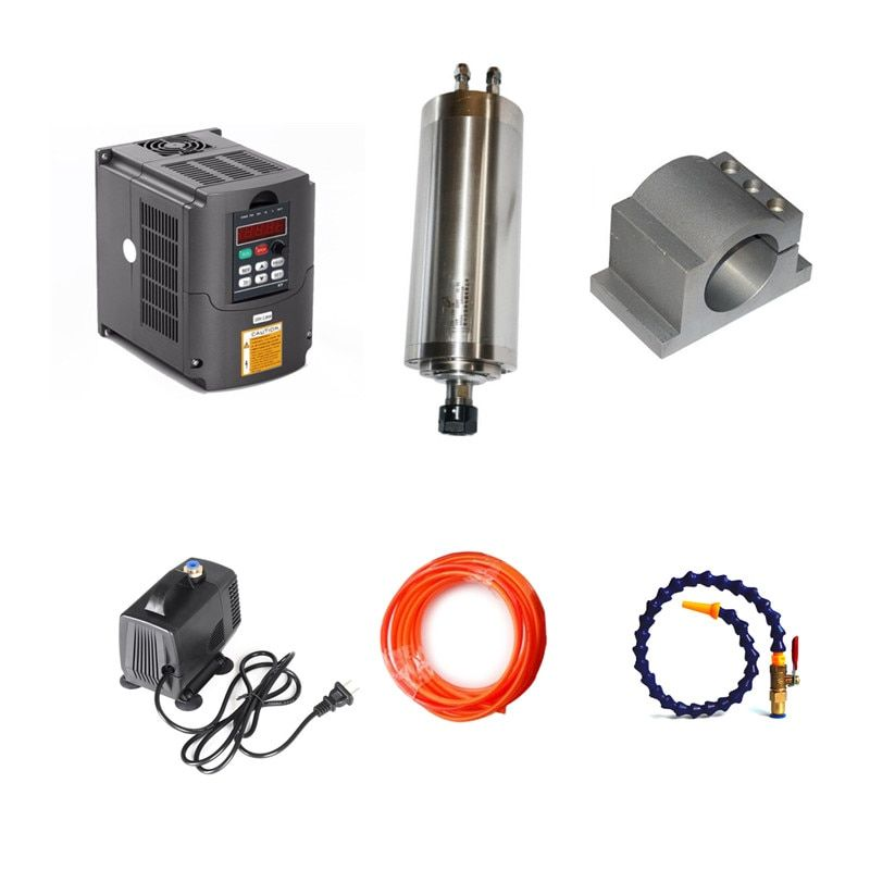 1.5kw spindle 80mm 2.2kw VFD spindle for diy cnc milling machine Water Pump 5M Water Pipes 80mm clamp