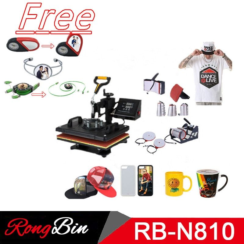 Double Display 8 In 1 Combo Heat Press Machine Sublimation Heat Press Swing Away Heat Transfer Machine Phone Case Mug Cup Plate