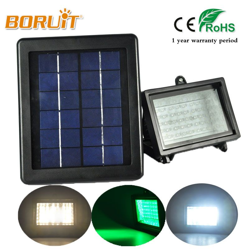 BORUIT IP54 Waterproof LED Flood Lamp Solar Garden Floodlight 30/40/45 LED Green/Warm White/Cool White Light Modern Stage Torch