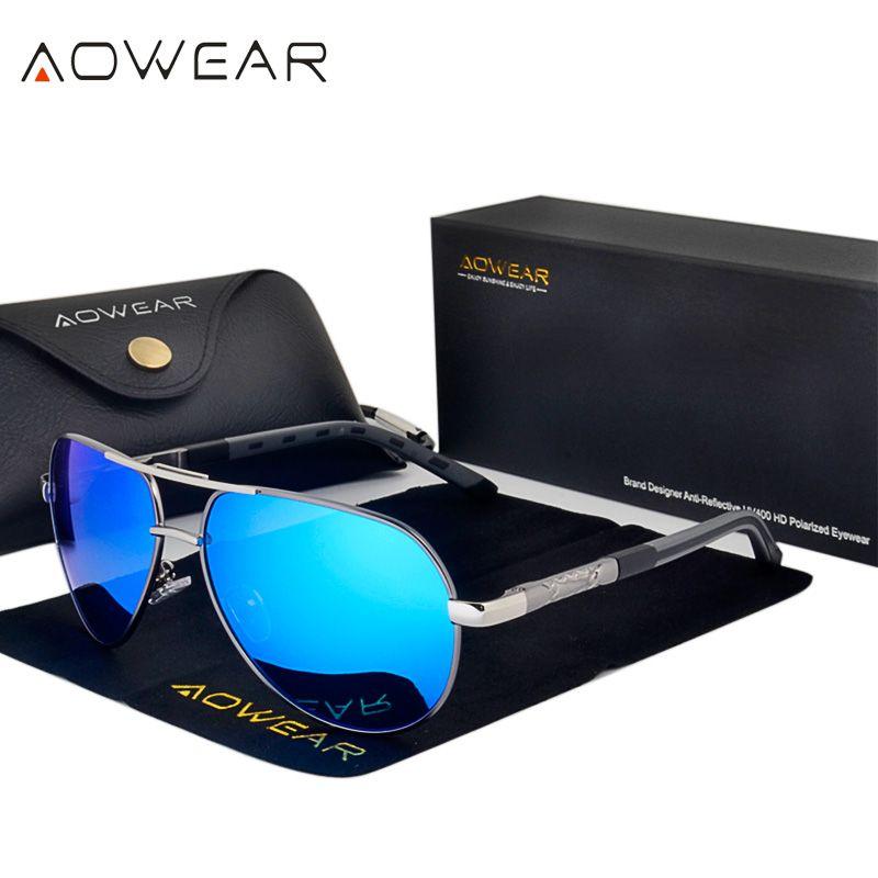AOWEAR Marke Designer Spiegel Sonnenbrille Männer Polarisierte Luftfahrt Sonnenbrille Männlichen Aluminium Magnesium Fahren Brille Brillen Gafas