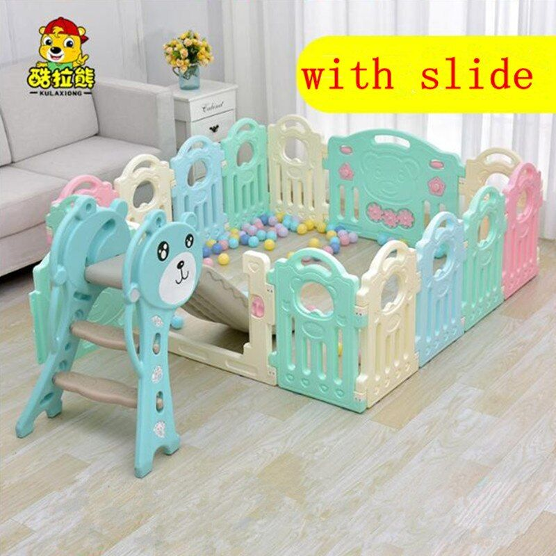 Indoor kids playpens baby game fence infant toys crawling mat toddler bar marine ball pool with baby slides