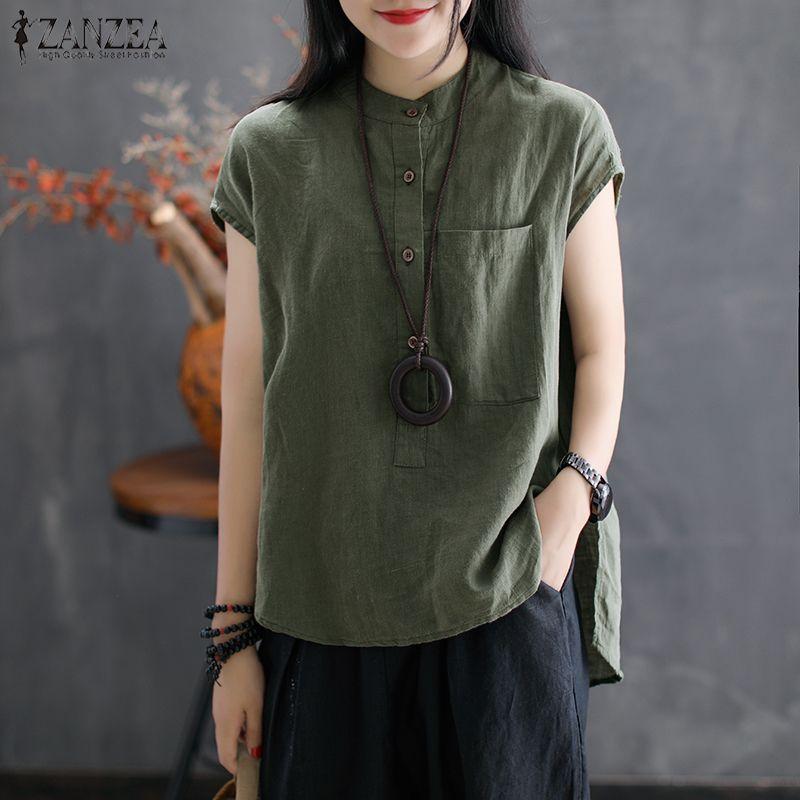 2019 ZANZEA femmes d'été Blouse travail OL Blusas solide coton linge chemise décontracté manches courtes hauts Camisas Mujer grande taille Blouse