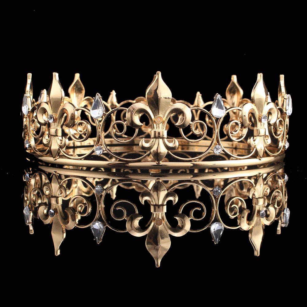 Gros cercle complet or accessoires de bal roi hommes couronne ronde impériale médiévale or strass diadème