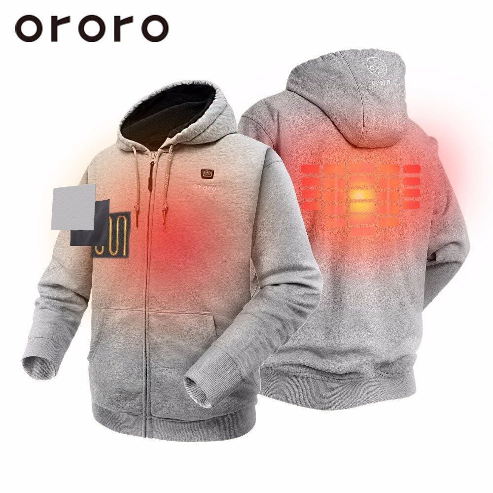 ORORO Unisex Heated Jacket Full Zip Heated Hoodies Coat with Hood Electric Battery Heated Windbreaker Streetwear Couple Lover