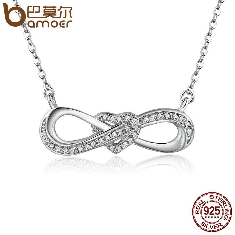 BAMOER 100% 925 Sterling Silver Infinity Love Clear CZ Heart Women Pendant Necklaces Luxury Fine Jewelry Girlfriend Gift SCN100
