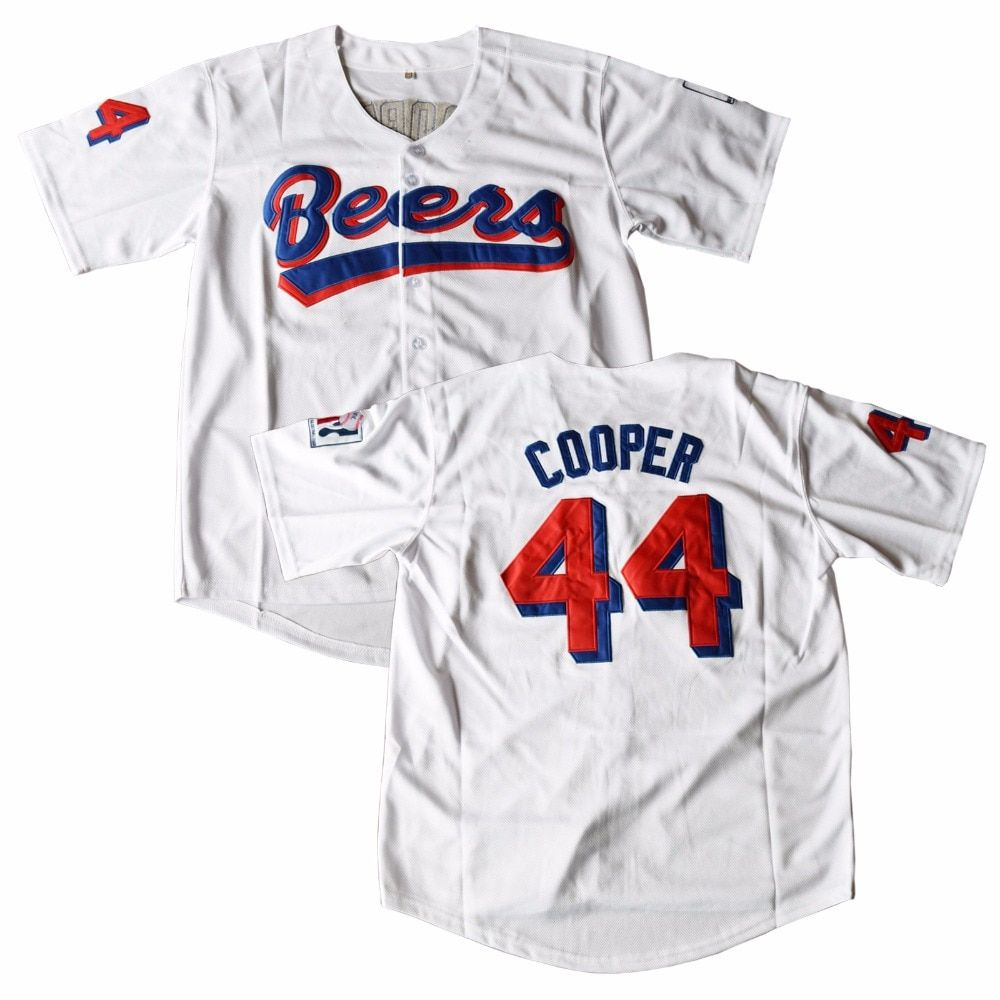 MM MASMIG Joe Cooper #44 Beers Baseball Jersey BASEketball Movie Jersey Stitched White
