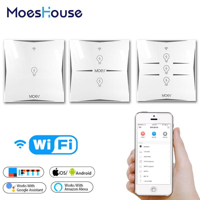 Wifi Smart mur tactile interrupteur EU prise 1 Gang panneau de verre APP télécommande travailler avec Google Home et Alexa pour la vie intelligente