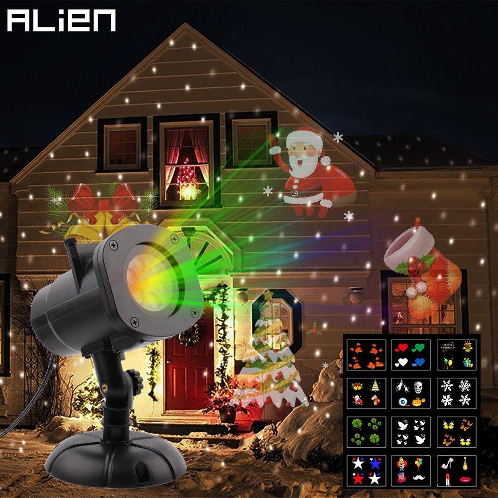 ALIEN 12 Slide LED RGB Waterproof Projector Lamp Christmas Snowflake Star Effect Lights Outdood Garden Xmas Decoration Lighting