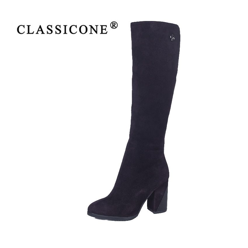 CLASSIOCNE2018 shoes woman snow high boots winter genuine leather warm wool high heels brand fashion style black Coffee color