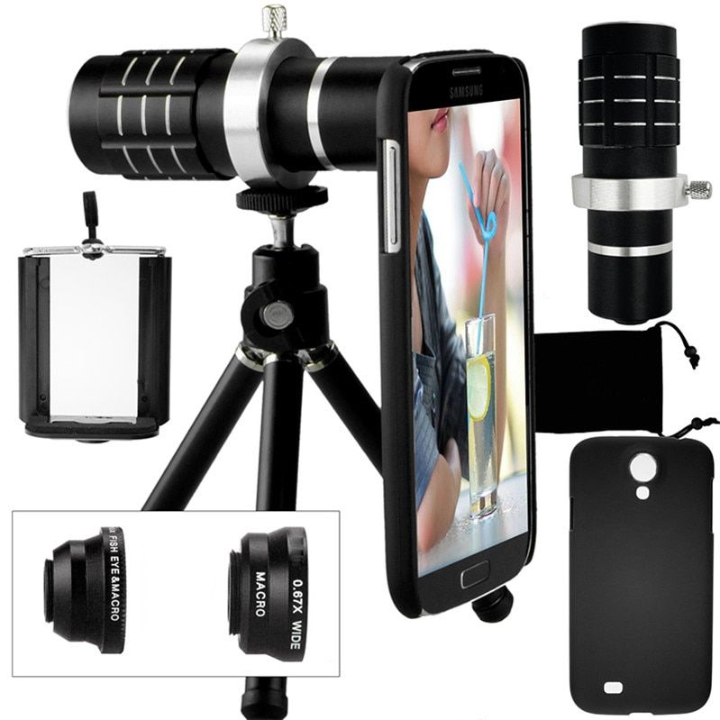 Camera Photo Kit-12x Zoom Lens+Accessories+Fisheye+2 in 1 Macro&Wide Angle Lens+Case For Samsung Galaxy S5 Neo S6 S7 Edge S8 +