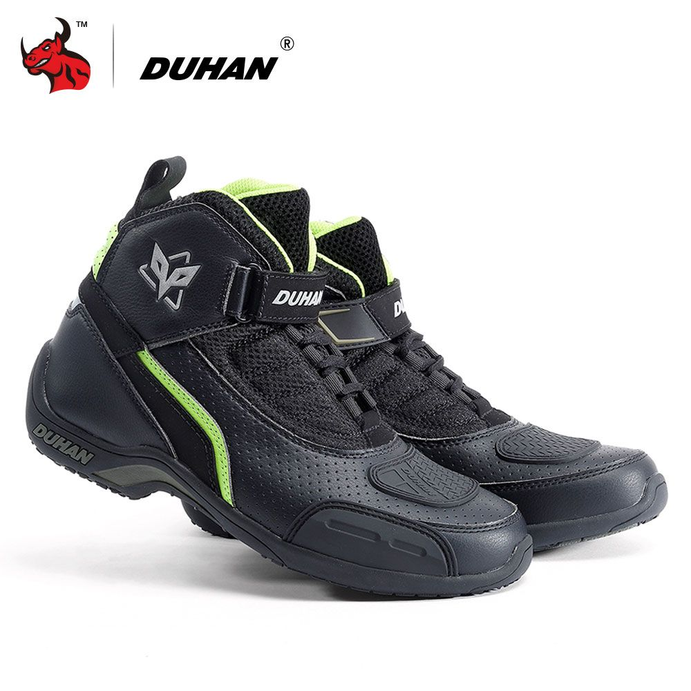 DUHAN Motorcycle Boots Summer Breathable Moto Boots Men Motocross Off-Road Racing Boots Motorbike Riding Shoes Black