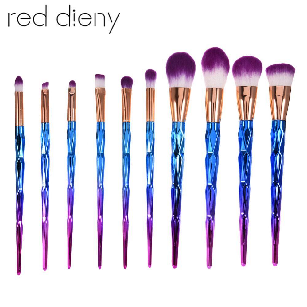 10 Pcs/ensemble Diamant Maquillage Pinceaux Visage Fondation Poudre Blush Fard À Paupières de Mélange Maquillage Cosmétique Maquillage Brosses Kit