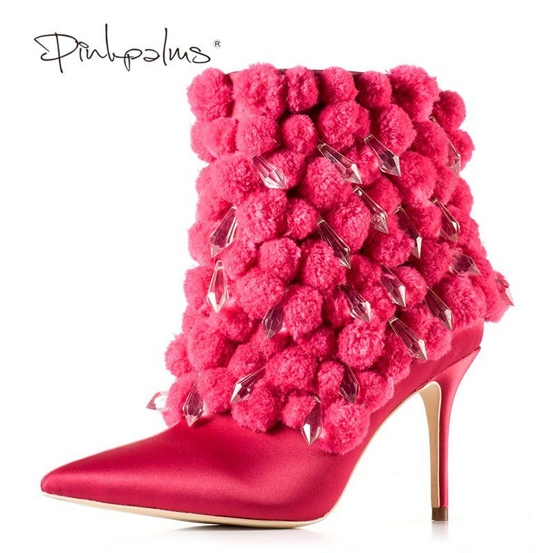 Marke Rosa Palms Winter Stiefel Frauen High Heel Stiefel Spitz Stiefeletten für Frauen Mode-Design Plüsch frauen stiefel