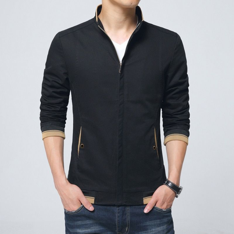 Casual Autumn New Cotton Jaqueta Masculina Slim Stand Collar Mens Jackets And Coats