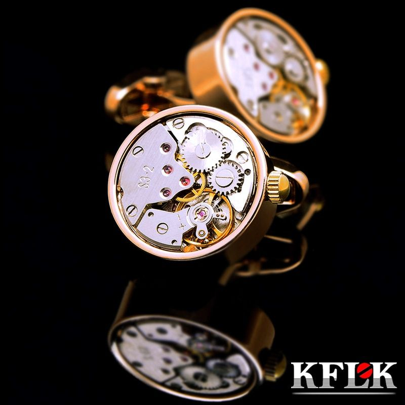 KFLK cufflinks for mens Brand watch movement mechanical cuff links Stainless Steel Buttons Gold-color High Quality Free Shipping