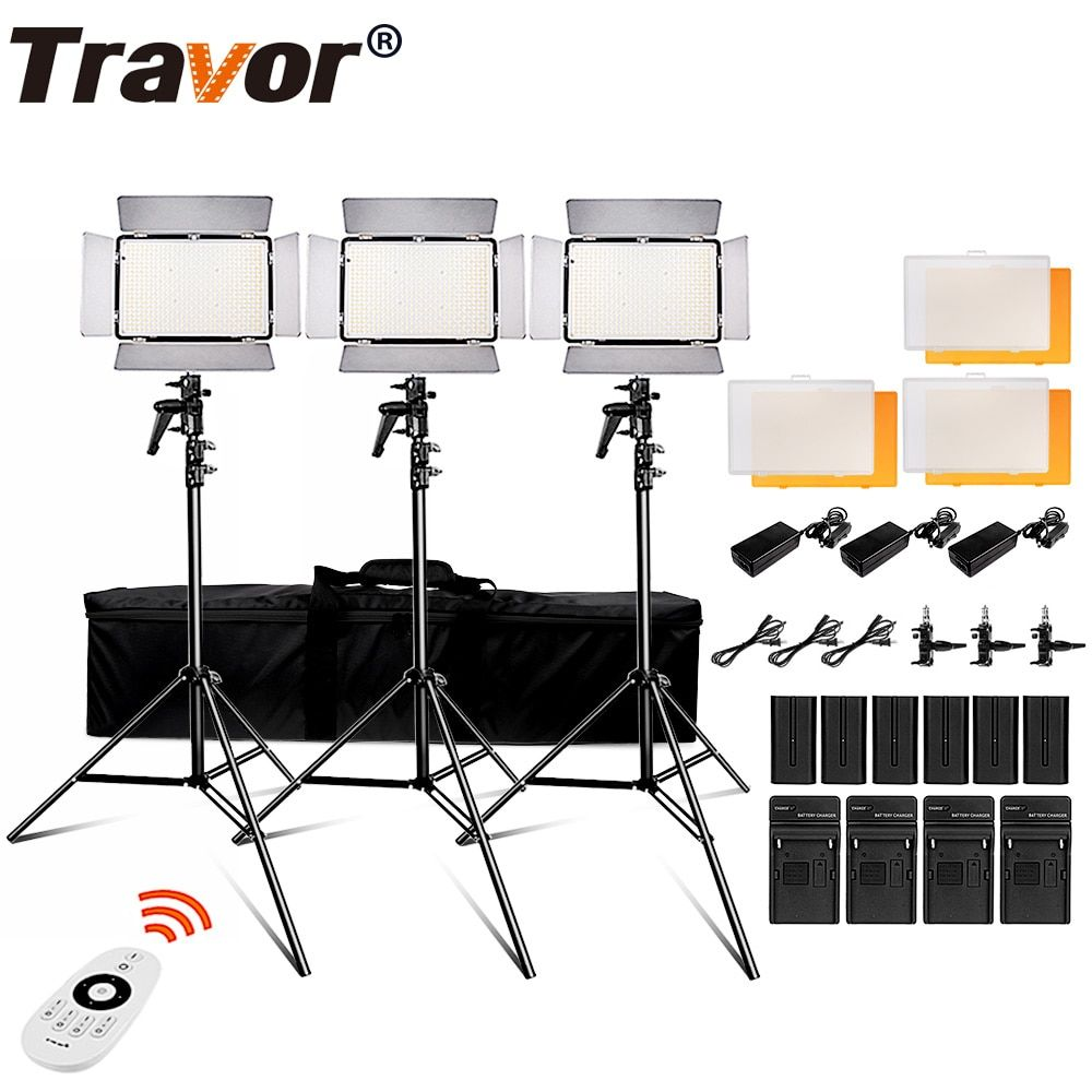 Travor 600pcs daylight led video light Studio light 3200K 5500k 75W photography lighting with 2.4G wireless remote and youtube