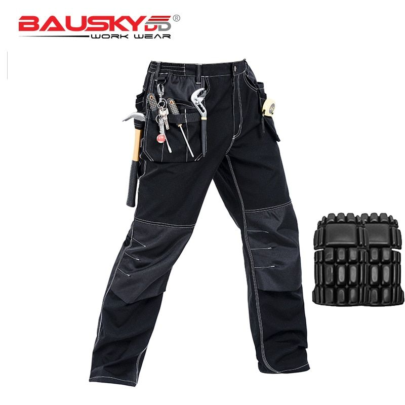 Craftsman's black work pants with knee patch work wear