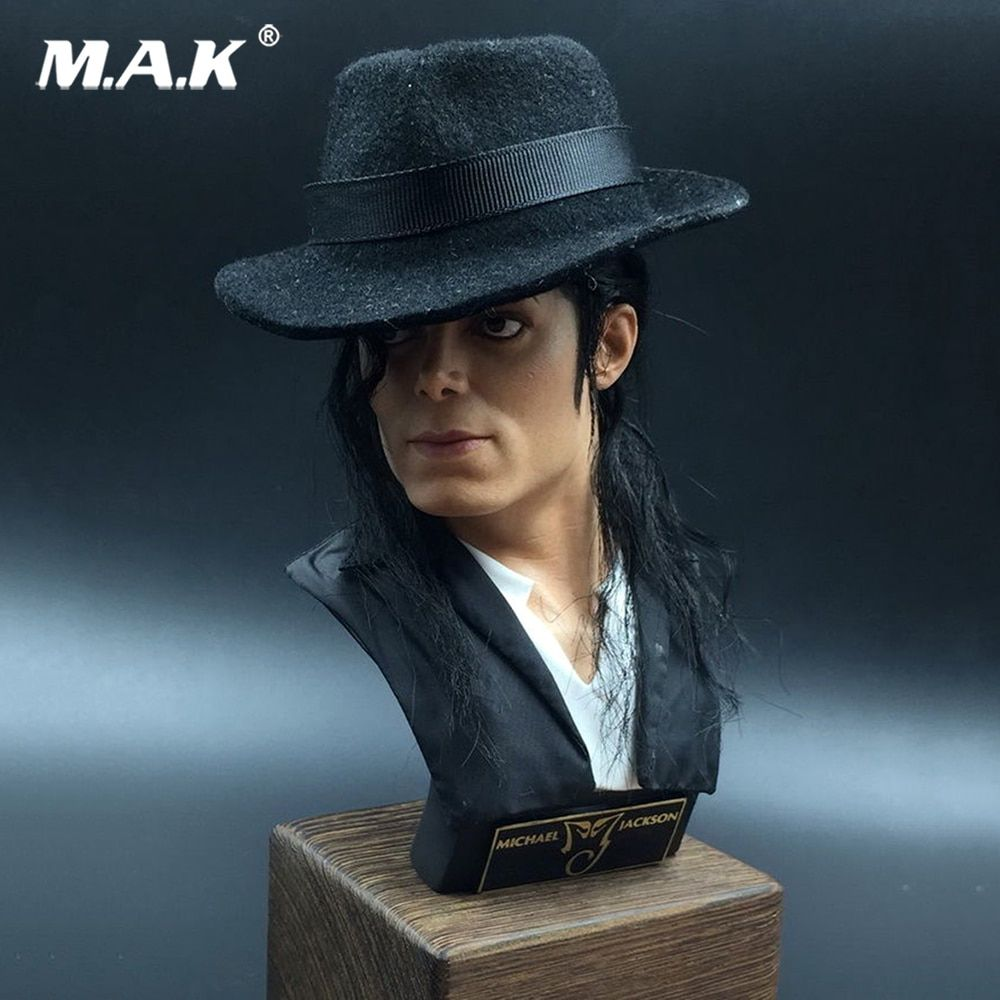 34cm Dandelion Michael Jackson Male Bust Statue 1/3 Scale Display Toy With Wood Stand Collections