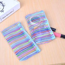 1 Pcs(Random)Colorful Lines Pencils Bags Cute Plush Pencils Case 2016 Case Large Capacity School Supplies Stationery Pen Box