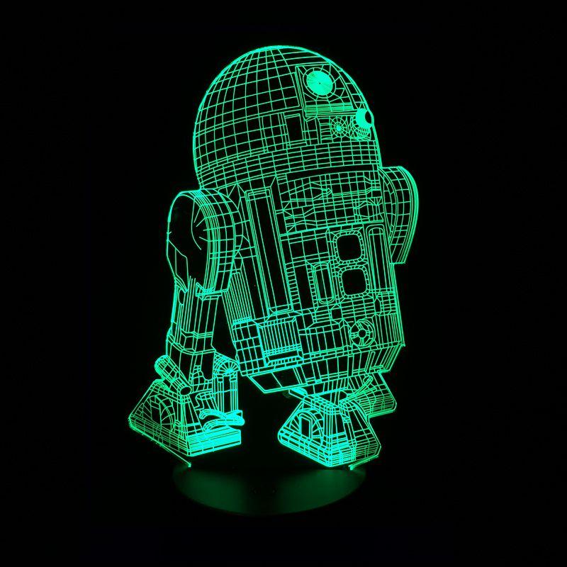 New Action Figure 7colors Robot R2D2 3D Visual LED Night Lights for Kids Friends Star War Fans as Bedroom Table Desk Lamp