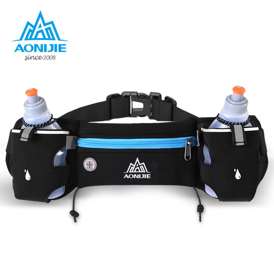 AONIJIE Running Waist Pack Outdoor Sports Hiking Racing Gym Fitness Lightweight Hydration Belt Water Bottle + 2pcs 250ml Hip Bag