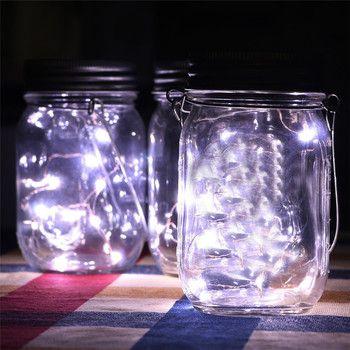 Dropshipping En Gros LED Fée Lumière Solaire Alimenté Pour Mason Jar Couvercle Insert Changement de Couleur Jardin Décor