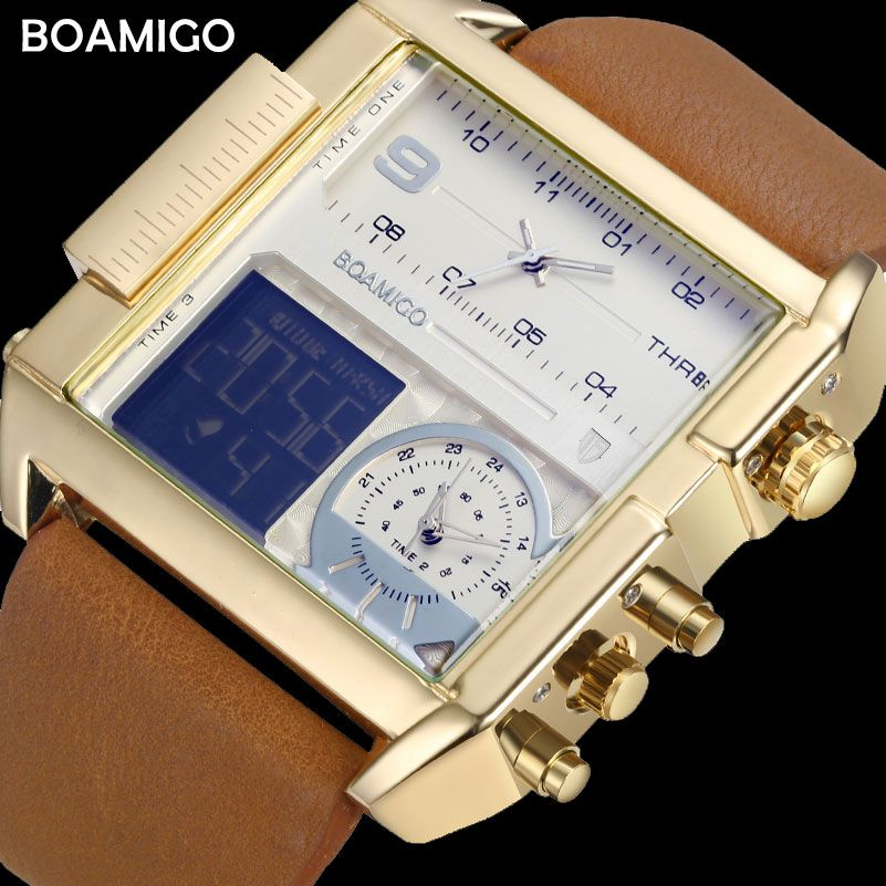 BOAMIGO Brand Men Sports Watches Man Military chronograph digital Watch Leather Rectangle Quartz Wristwatches Relogio Masculino