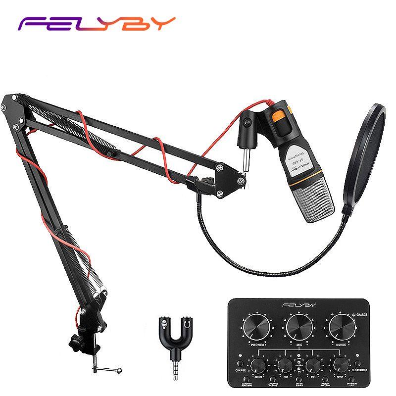FELYBY SF666 Microphone à condensateur professionnel pour ordinateur/téléphone avec filtre Pop