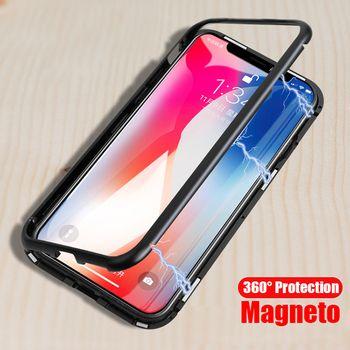 Magnéto Magnétique Adsorption boîtier métallique pour iphone X iphone 7 8 cas de luxe trempé couvercle en verre pour iphone 8 plus 7 plus coque
