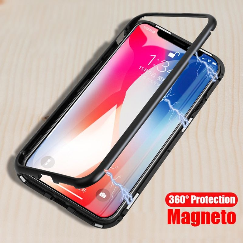 Magneto Magnetic Adsorption <font><b>metal</b></font> case for iphone X iphone 7 8 case luxury tempered glass cover for iphone 8 plus 7 plus coque