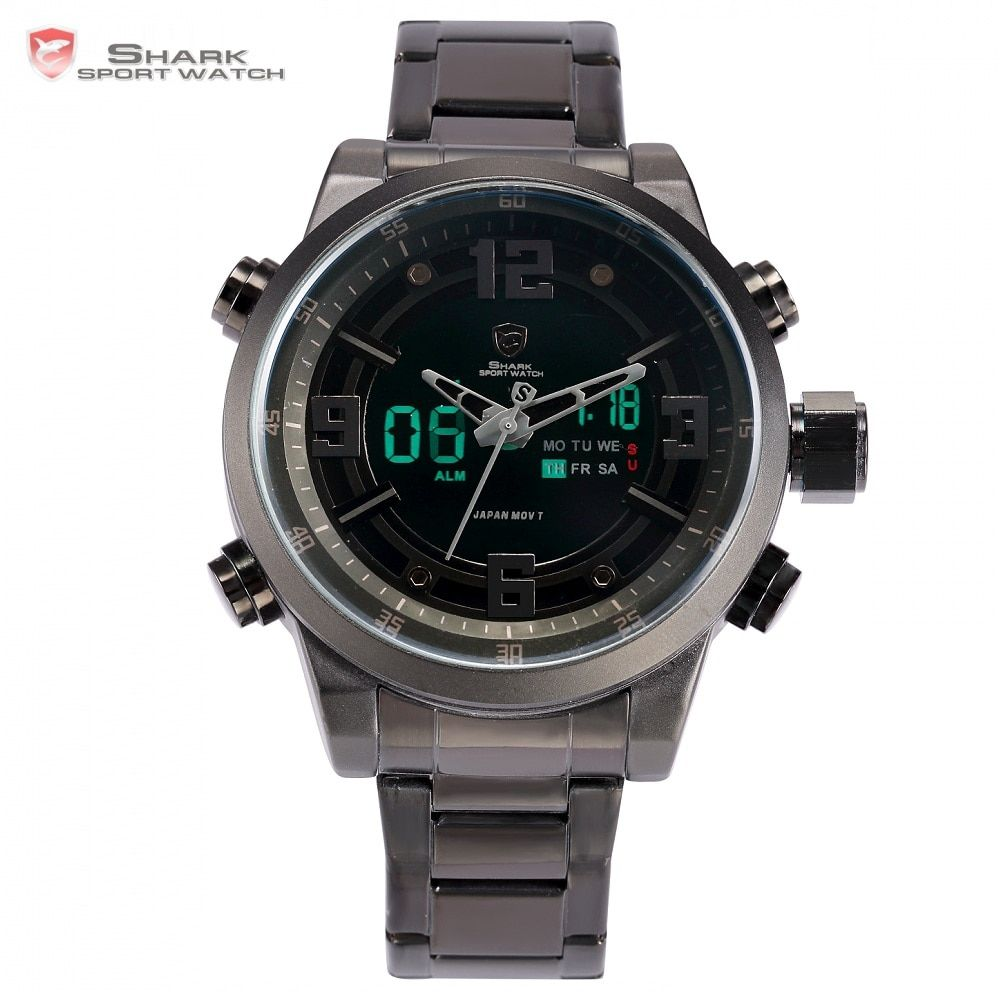 Basking Shark Sport Watch Brand Fashion Chrono Men Waterproof Digital Military <font><b>Steel</b></font> Band Watches Clock Relogio Masculino /SH343